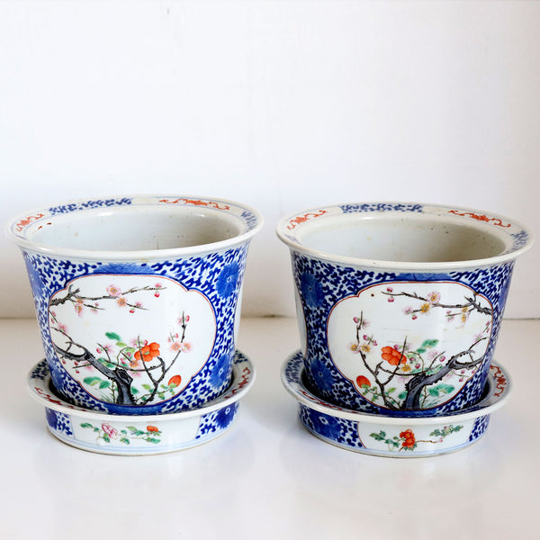 Pair Chinese Late Qing Famille Rose Porcelain Planters with Underplates