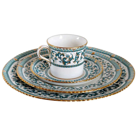 51-Pieces Vintage English Royal Crown Derby Turquoise Imperia Bone China Dinnerware