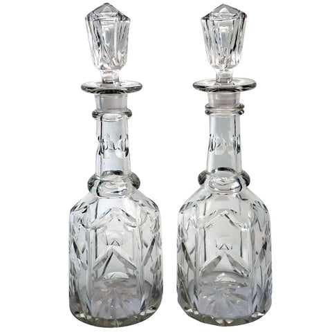 Pair English Mid Victorian Cut Glass Tall Neck Decanters
