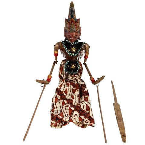 Indonesian Painted Wood and Batik Rod Puppet Doll (Wayang Golek)