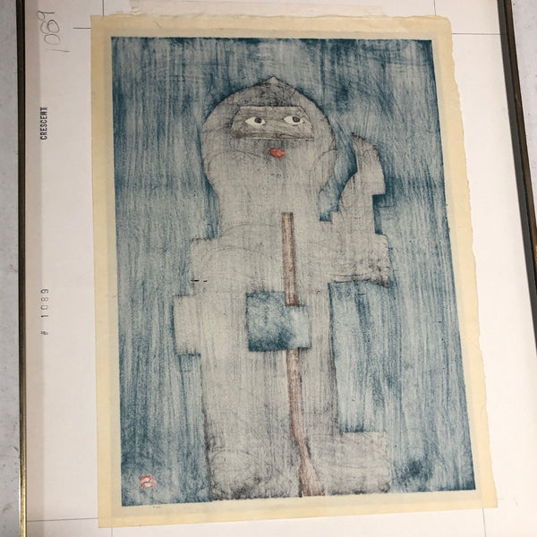 UMETARO AZECHI Color Woodblock Print on Paper, Rescued Bird and Book