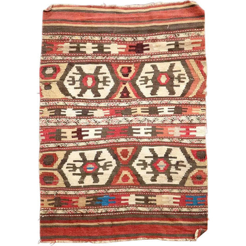 Vintage Small Multicolor Geometric Pattern Flat Weave Tribal Rug