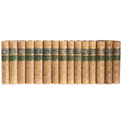Set of 15 American Leather Books: The Works of Washington Irving, Knickerbocker Edition