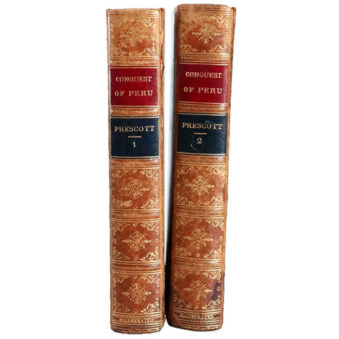 Set of Two Books: History of the Conquest of Peru by William H. Prescott