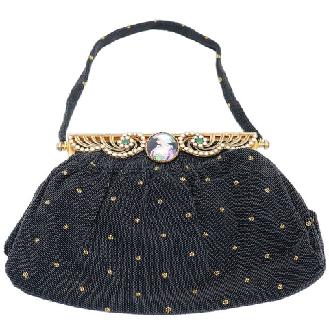Vintage French Micro-Beaded, Jewelled and Limoges Plaque Black Evening Purse