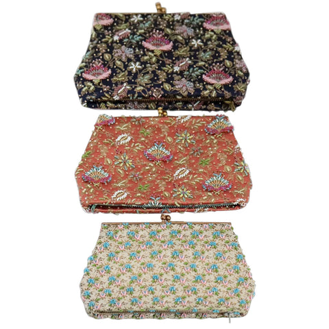 Three Vintage French Parisian Duizend-Gans Micro-Beaded Silk Clutch Purses