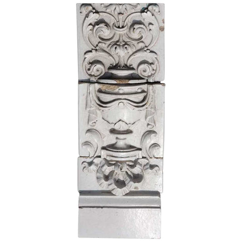 American Beaux Arts Glazed Terracotta Architectural Three-Part Building Facade Panel