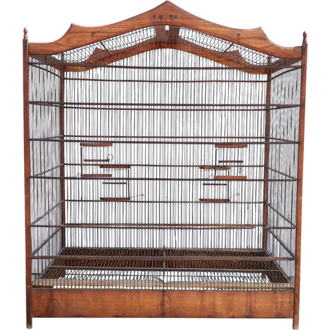 Large French Beechwood and Fruitwood Birdcage / Bird Aviary
