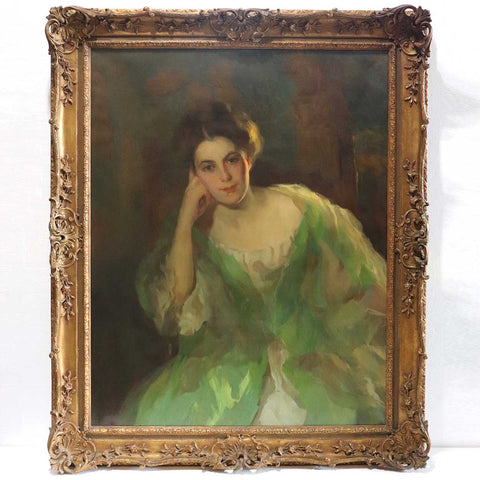 American School Oil on Canvas Painting, Portrait of a Lady in a Green Dress