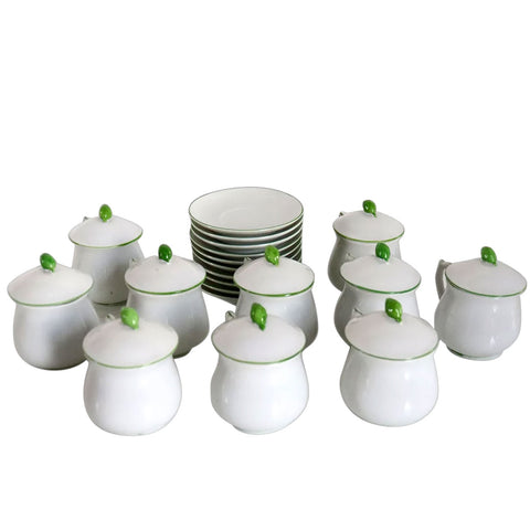 Set of 10 Vintage Japanese Bone China Pot de Creme Covered Dessert Cups and Saucers