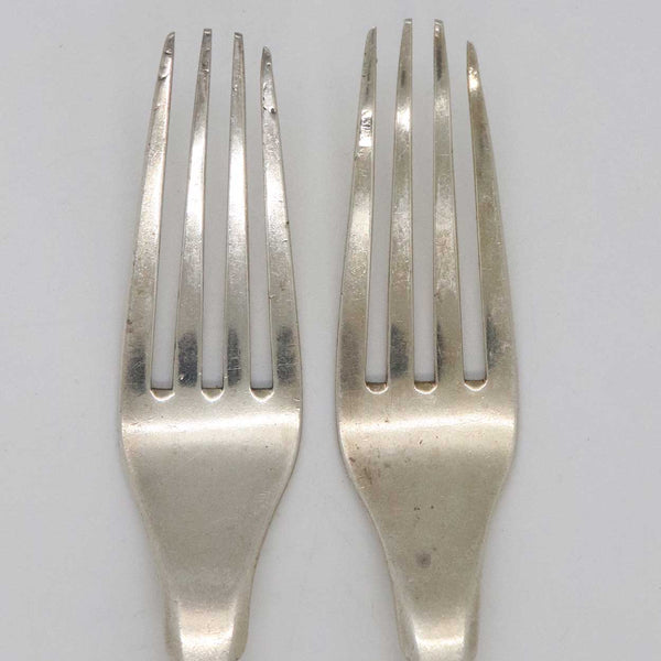 Pair of American Thomas Fletcher Coin Silver Fiddle and Shell Handle Forks