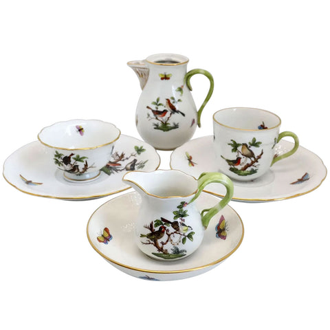 Partial Set Hungarian Herend Handpainted Porcelain Rothschild Bird Tea Service
