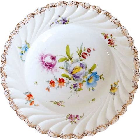 Set of 12 German Hermann Ohme Handpainted Porcelain Gilt Floral Plates