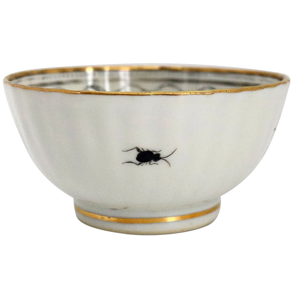 Small Chinese Export Grisalle and Gilt Porcelain Bowl