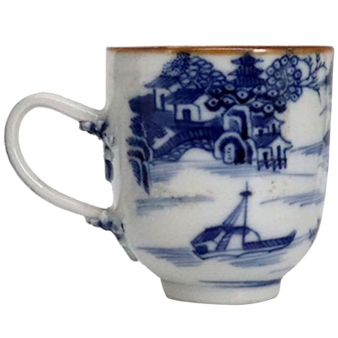 Chinese Export Canton Brown, Blue and White Porcelain Teacup
