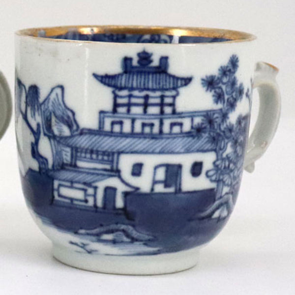 Chinese Export Canton Gold Gilt, Blue and White Porcelain Teacup