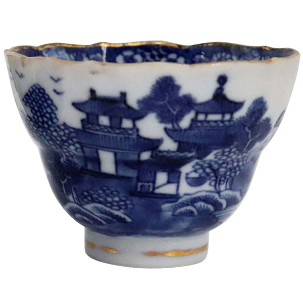 Chinese Export Qianlong Gilt, Blue and White Porcelain Pagoda Tea Bowl