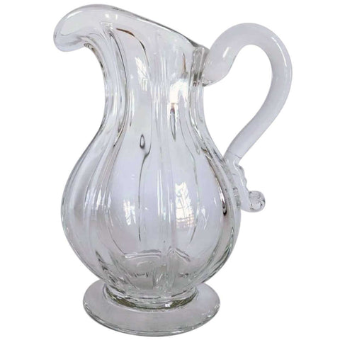 Early American Flint Glass Pillar Molded Footed Pitcher