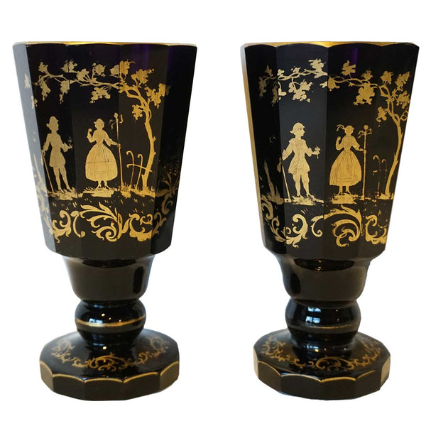 Pair of Bohemian Gilt Dark Amethyst Glass Vases/Goblets