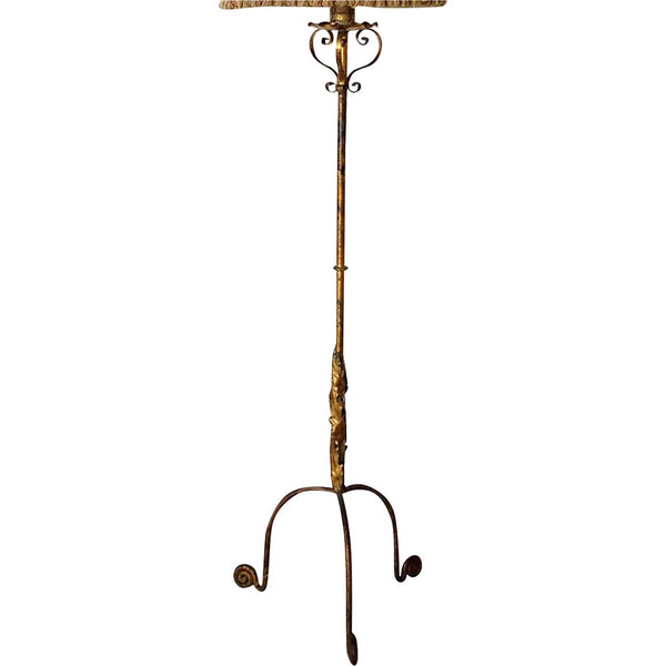 Spanish Gilt Wrought Iron Floor Lamp