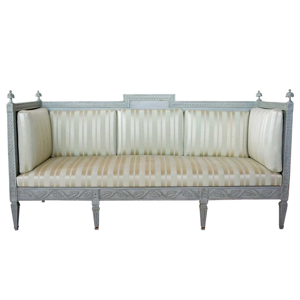 Antique Swedish Gustavian Style Painted Pine Upholstered Sofa