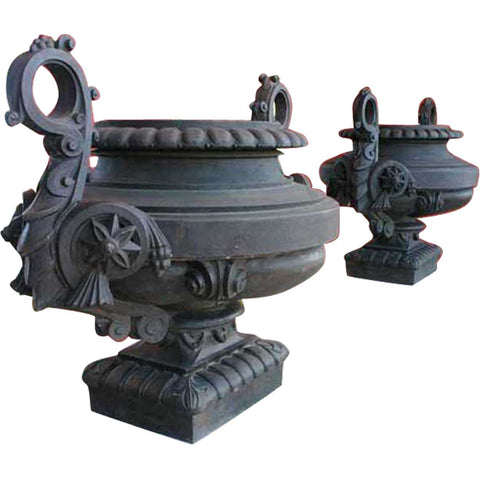 Rare Large Pair Spanish Early Modernist Ciutadella Park Cast Iron Garden Urns