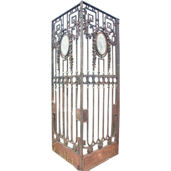 Large Argentine Beaux Arts Wrought Iron and Marble Double Door Gate