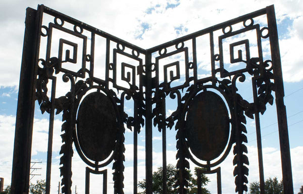 Argentine Neoclassical Wrought Iron and Marble Double Gate