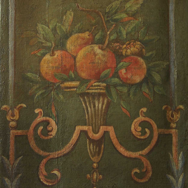 Large Venetian Neoclassical Oil on Canvas Four-Panel Screen