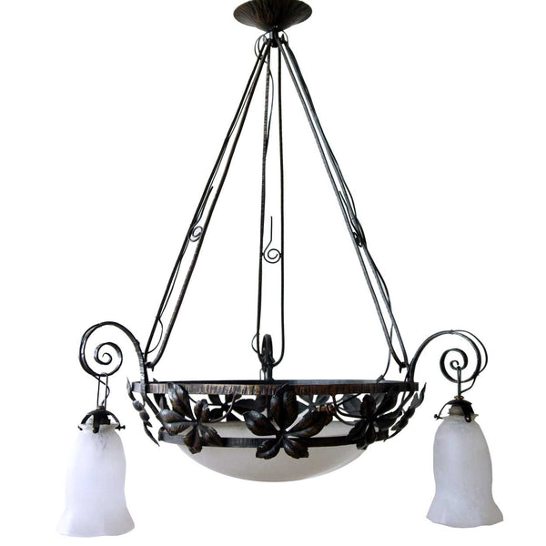 French Art Deco Wrought Iron and Mulaty Art Glass Three-Light Chandelier