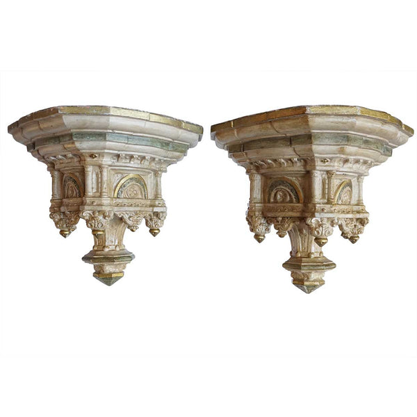 Pair of French Gothic Revival Painted Terracotta Shelf Brackets