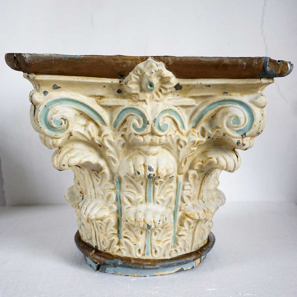 American Painted Tin Corinthian Architectural Capital