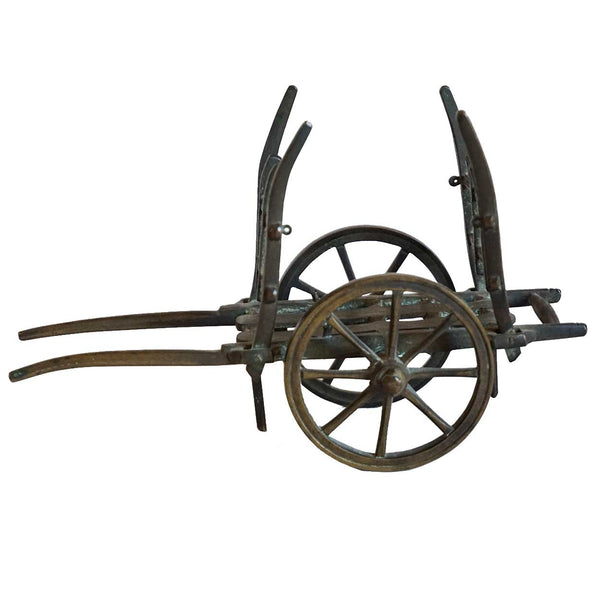 French Bronze Miniature Farming Two-Wheel Horse Cart Model