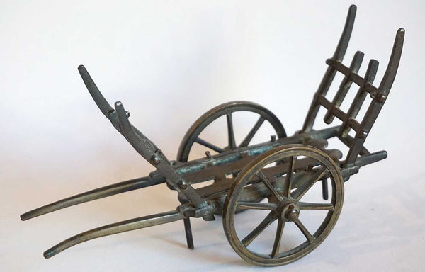 French Patinated Bronze Miniature Farming Two-Wheel Horse Cart Model
