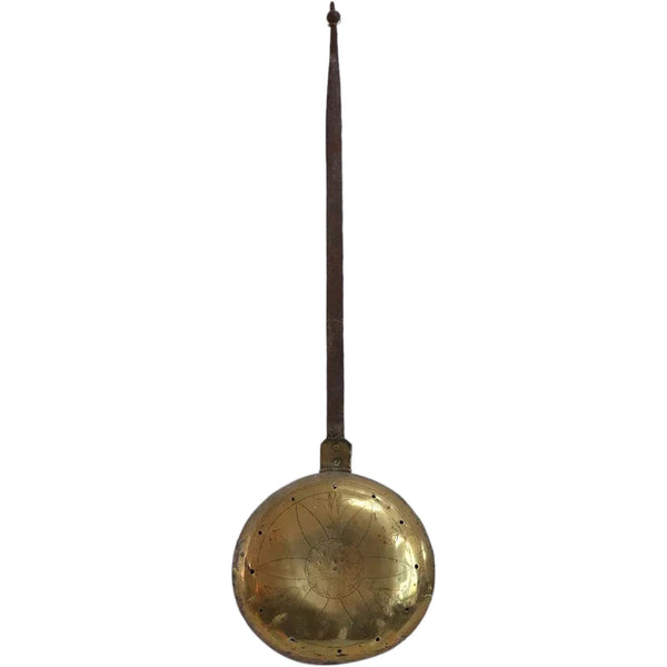 Early English Iron Handled Brass Bed Warmer