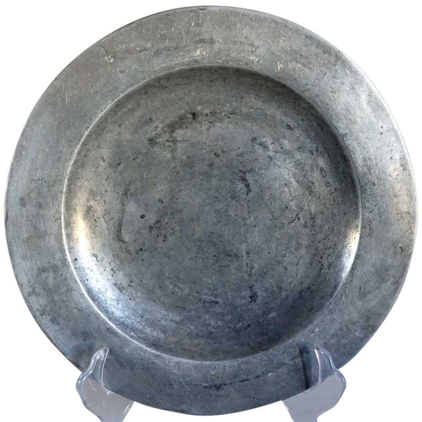 Continental Pewter Dinner Plate & Antique Continental Pewter Dinner Plate