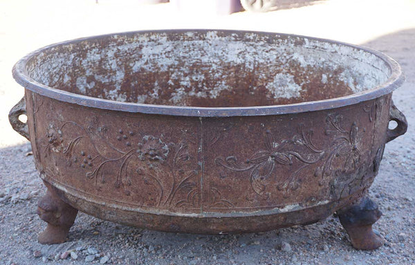 Early Large Chinese Cast Iron Footed Pot