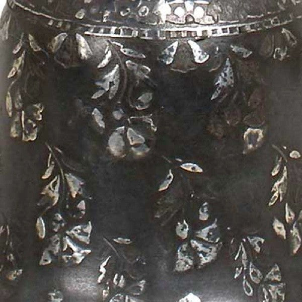 Indian Mughal Silver Inlaid Bidri Bell-Shaped Spittoon
