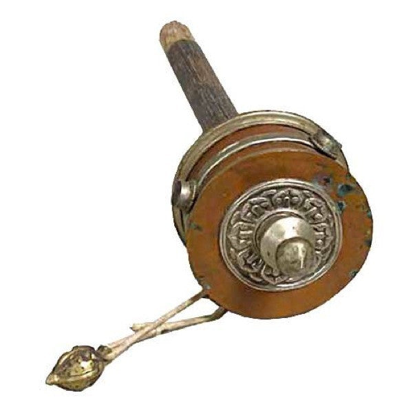 Tibetan Buddhist Brass, Copper and Wood Antique Prayer Wheel (Mani)