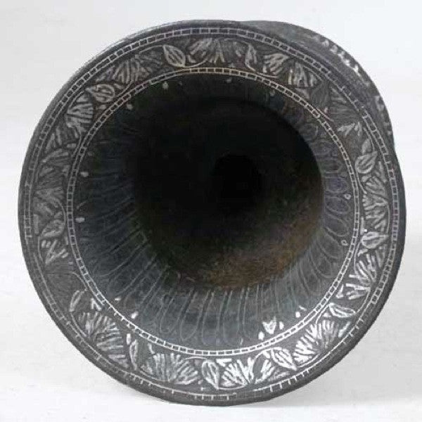 Indian Mughal Silver Inlaid Bidri Spittoon (Peekdaan/Thookadaan)
