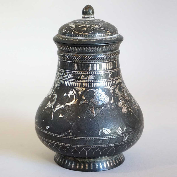Small Indian Mughal Silver Inlaid Bidri Lidded Jar