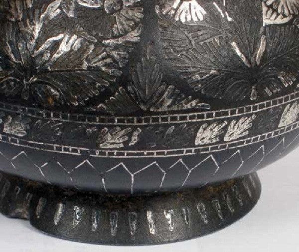 Indian Mughal Silver Inlaid Bidri Lidded Jar