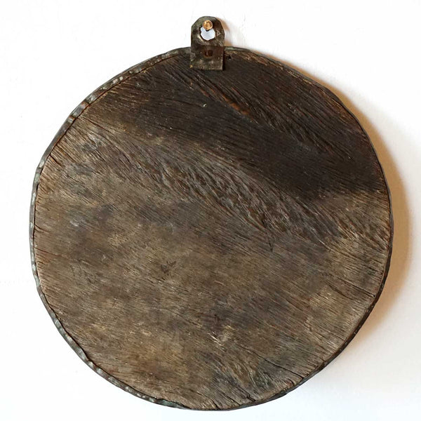 Tibetan Chased Copper on Wood Round Buddhist Hanging Wall Plaque