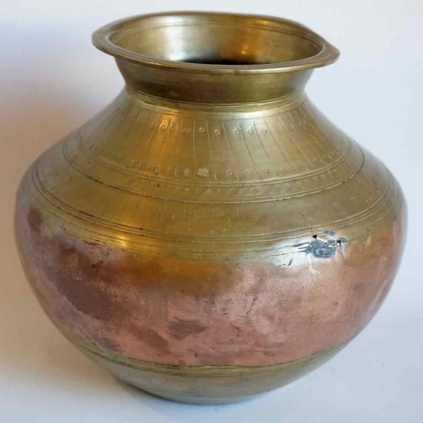 Indian Mughal Chased Copper and Brass Water Pot (Lota)
