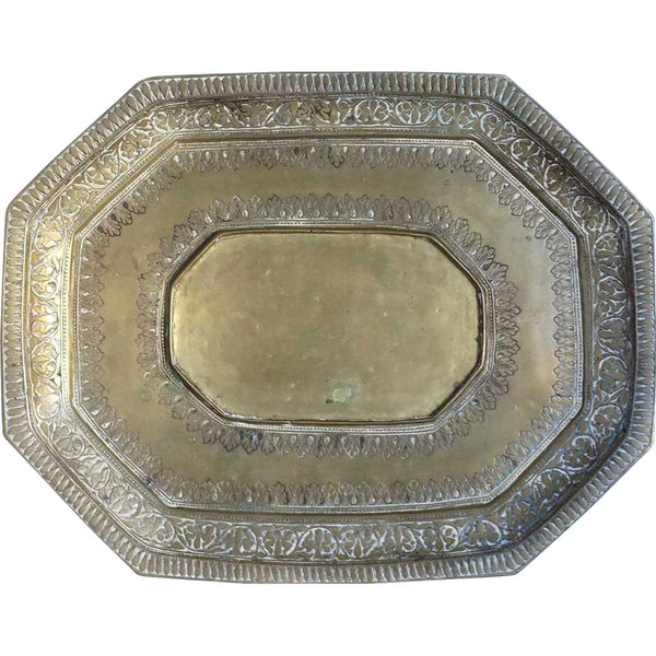Indian Heavy Brass Octagonal Tray
