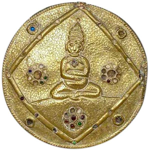 Tibetan Chased Brass Metal over Wood Round Buddhist Hanging Wall Plaque.