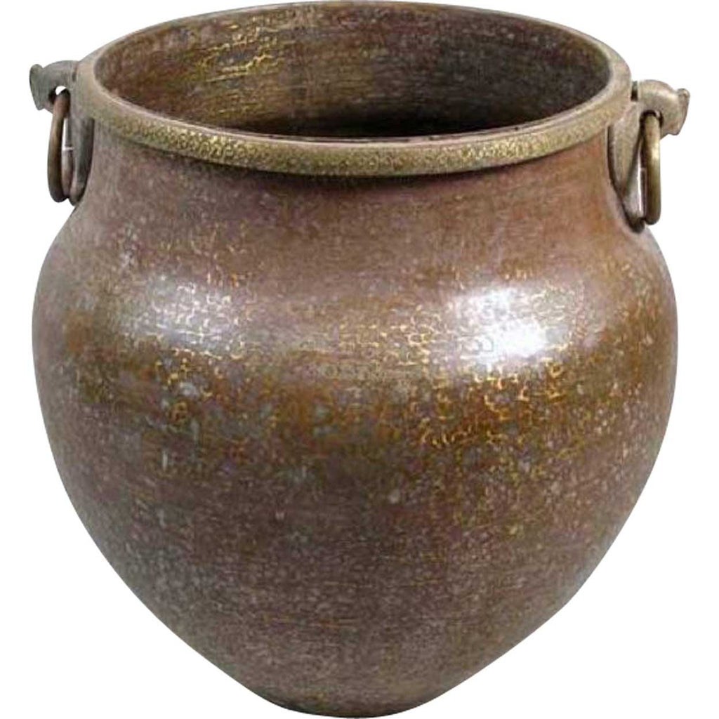 Superbe Large South Indian Hammered Brass Water Storage Pot
