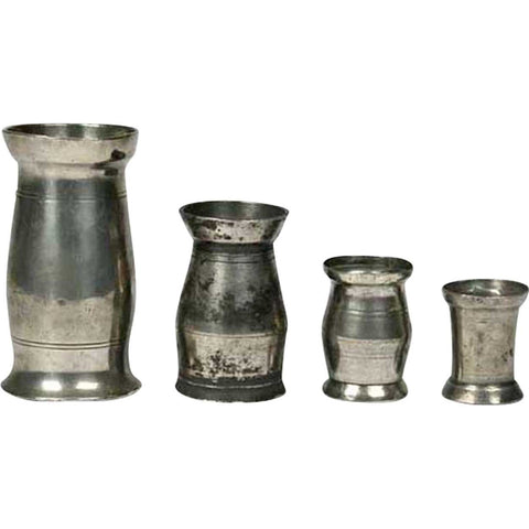 Set of Four Irish Georgian Pewter Graduated Tavern Measures