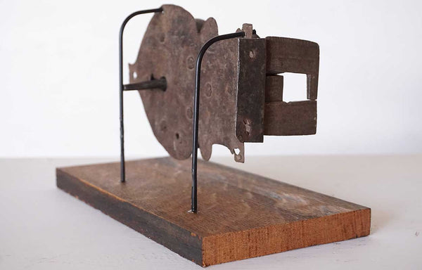 Early Continental Hand Forged and Chased Iron Cabinet Lock on Stand