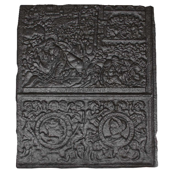 Large Swedish Cast Iron Stove Plate with Coat of Arms